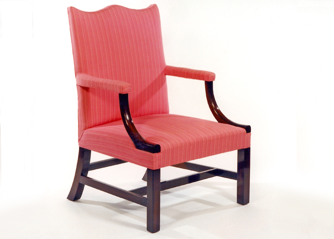 Chippendale Mahogany Upholstered Arm Chair