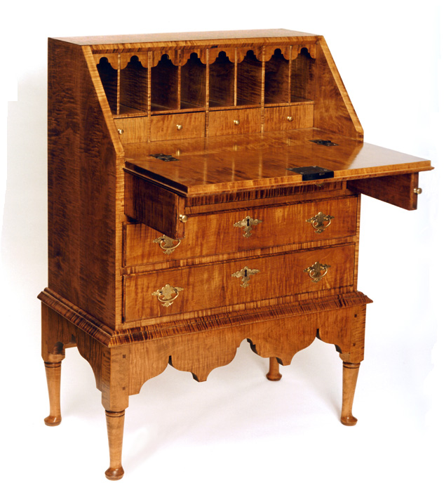 Great Queen Anne Tiger Maple Small Desk On Frame