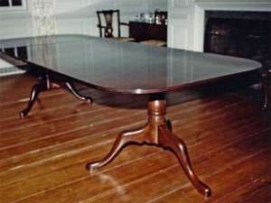 Queen Anne Mahogany 2 Pedestal Dining Table