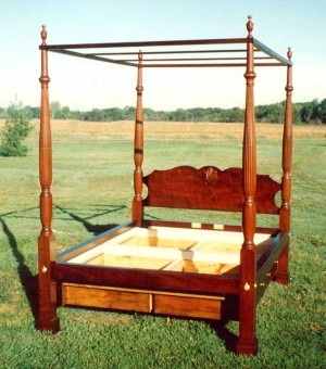 Chippendale Mahogany Four Poster Bed with Tester and Drawers