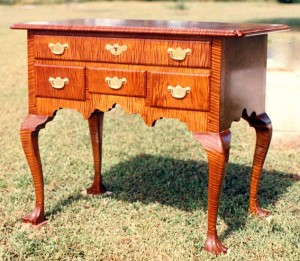 Queen Anne Tiger Maple Lowboy